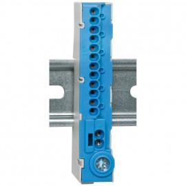 N-Klemme für Normschiene, 12-polig blau,  mit Stekklemmen - Pollmann