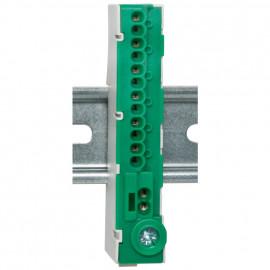 PE-Klemme für Normschiene, 12-polig grün,  mit Stekklemmen - Pollmann