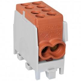 Hauptleitungs Abzweigklemme, 1-polig, 2 Eingänge 25 mm² 2 Ausgänge 16 mm² braun