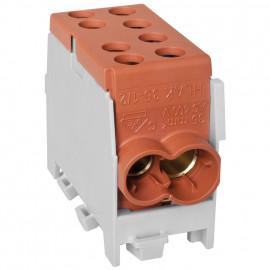 Hauptleitungs Abzweigklemme, 1-polig, 2 Eingänge 35 mm² 2 Ausgänge 25 mm² braun