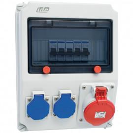 CEE Steckdosenverteilung, LECH IP44 6 Module bestückt und verdrahtet - PCE