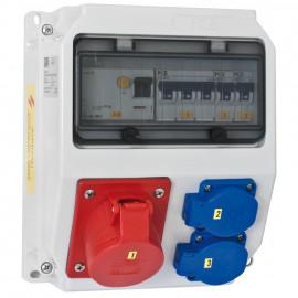 CEE Steckdosenverteilung, IP44 9 Module bestückt und verdrahtet LOFER - PCE
