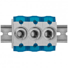 3 St. Einbausicherungssockel 3-polig, Doppelfunktions Klemme bis 35 mm² D01 / 16A