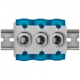 3 St. Einbausicherungssockel 3-polig, Doppelfunktions Klemme bis 35 mm² D02 / 63A