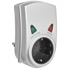 Überspannungsschutz Adapter, mit Kontroll Leuchten, silber Anforderungsklasse D