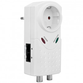Überspannungsschutz Adapter, mit Kontroll Leuchten, mit 1 Schutzkontakt Steckdose