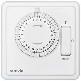 Zeitschaltuhr Komplett, Unterputz, 230V / 10A, mit Schalter, Tagesprogramm, weiß, Suevia