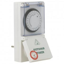 Steckdosen Zeitschaltuhr, analog, 230V/16A, IP54, weiß mit Klappdeckel