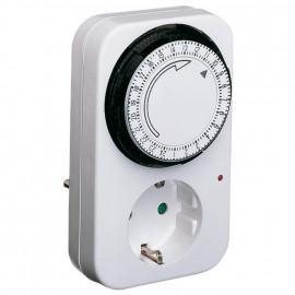 Steckdosen Zeitschaltuhr, analog, 230V/16A, weiß Kinderschutz und Kontroll Leuchte