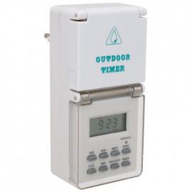 Steckdosen Zeitschaltuhr, digital, 230V/16A, IP44, weiß 16 Tagesprogramme
