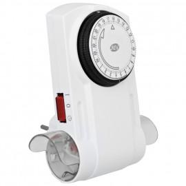 Doppel Steckdosen Zeitschaltuhr, analog, 230V / 16A, weiß mit 2 Schaltern