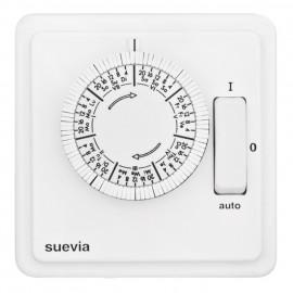 Zeitschaltuhr Komplett, Unterputz, 230V / 10A, mit Schalter, Wochenprogramm, weiß, Suevia