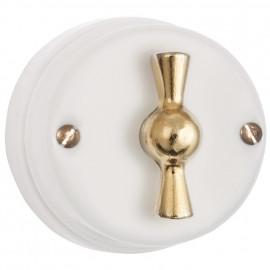 Drehschalter Porzellan  für 2 Zuleitung Butterfly Aus / Wechsel mit  Drehknopf gold Atlantis  weiß