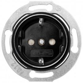 Steckdose Kombi, Unterputz, mit Kinderschutz, 16A/250V, Bakelit schwarz, THPG