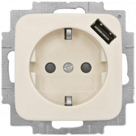Steckdose Kombi, mit Kinderschutz und USB-Steckdose, DURO 2000 SI weiß