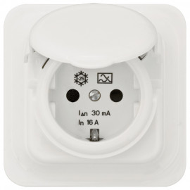 UP Komplett Steckdose mit FI Schalter, RCD, 16A/0,03, IP44, polarweiß