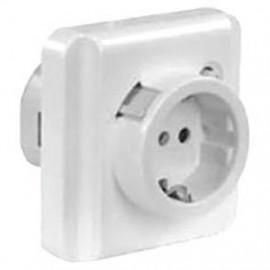 UP Komplett teckdose mit FI Schalter, S2, 16A/0,03, IP21, polarweiß