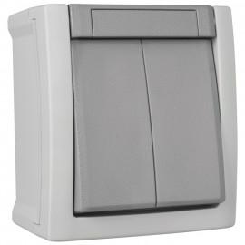 Schalter Jalousie, Aufputz, Feuchtraum, IP54, grau/dunkelgrau, Viko