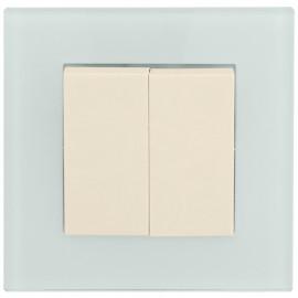 Schalter Komplett Serien mit Glasrahmen, weiß / mint, KLEIN® K55