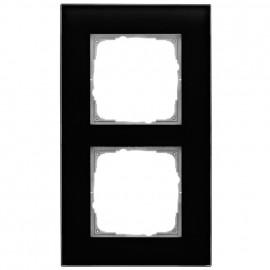 Schaltereinsatz Abdeckrahmen, 2 fach, Glas klar / schwarz, KLEIN® K55