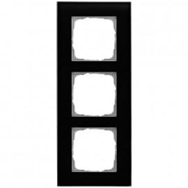 Schaltereinsatz Abdeckrahmen, 3 fach, Glas klar / schwarz, KLEIN® K55