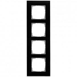 Schaltereinsatz Abdeckrahmen, 4 fach, Glas klar / schwarz, KLEIN® K55