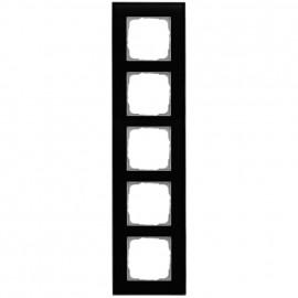 Schaltereinsatz Abdeckrahmen, 5 fach, Glas klar / schwarz, KLEIN® K55
