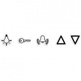 Schaltereinsatz Symbolsatz, selbstklebend, Licht / Klingel / Tür / Jalousie