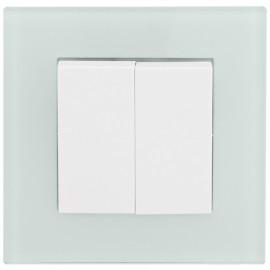 Schalter Komplett Serien-Schalter mit Glasrahmen, weiß / mint, KLEIN® K50