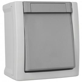 Taster, Schließer, Aufputz, Feuchtraum, IP54, grau/dunkelgrau, Viko