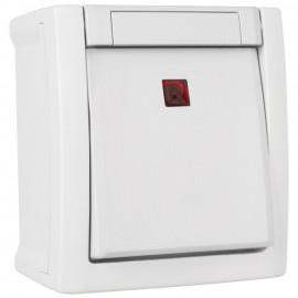 Schalter Kontroll / Aus, rot beleuchtet, 2 polig, Aufputz, Feuchtraum, weiß, Pacific, Viko