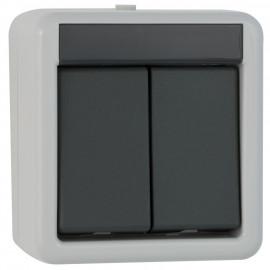 Schalterprogramm Aufputz / FR Serien Schalter, grau / dunkelgrau, IP44 Gira