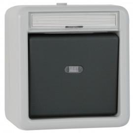 Schalterprogramm Aufputz / FR Kontroll Wechsel Schalter, grau / dunkelgrau, IP44 Gira