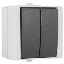 Schalter - Serien, Aufputz, Feuchtraum, IP44, grau / hellgrau, Kopp proAQA