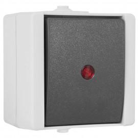 Schalter Kontroll / Wechsel, Aufputz, Feuchtraum, IP44, grau / hellgrau, Kopp proAQA