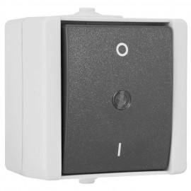 Schalter AUS, 2 - polig, Aufputz, Feuchtraum, IP44, grau / hellgrau, Kopp proAQA