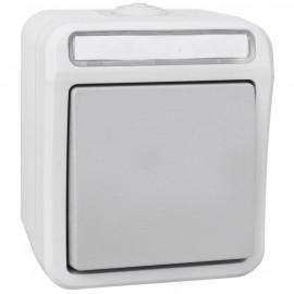 Schalter Aus / Wechsel, Feuchtraum, Aufputz, grau / hellgrau, IP54, PERANOVA