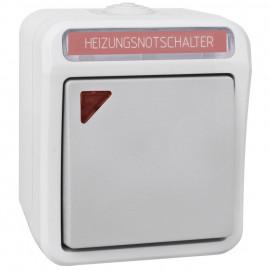 Schalter Heizung Not, Feuchtraum, Aufputz, grau / hellgrau, IP54, PERANOVA