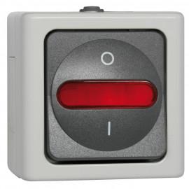 Schalter Kontroll - Wechsel, Aufputz, Feuchtraum, grau - hellgrau, Kopp Blue Electric