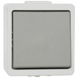 Schalter Aus / Wechsel, Aufputz, Feuchtraum, IP44, grau, Presto Vedder