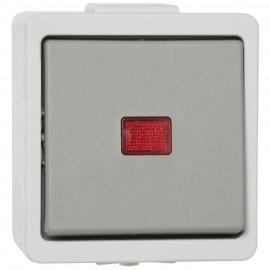 Schalter Kontroll / Wechsel, Aufputz, Feuchtraum, IP44, grau, Presto Vedder
