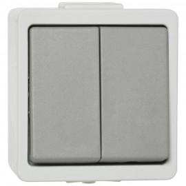 Schalter Doppelwechsel, Aufputz, Feuchtraum, IP44, grau, Presto Vedder
