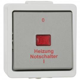 Schalter Heizungsnot, 2 polig, Aufputz, Feuchtraum, IP44, grau, Presto Vedder