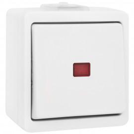 Schalter Kontroll / Wechsel, mit Glimmlampe, Aufputz, Feuchtraum, IP44, ultraweiß,