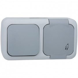 Wechsel Schalter / Steckdose Kombi, waagerecht, Aufputz, Feuchtraum, IP54