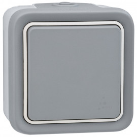 Wippschalter Taster, Aufputz, Feuchtraum, IP55, grau, LEGRAND PLEXO