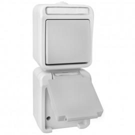 Schalter / Steckdose - Aus / Wechsel Kombi, Aufputz, Feuchtraum, grau/hellgrau, IP54, PERA