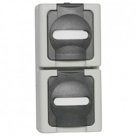 Steckdose, Aufputz, Feuchtraum, Aufputz, 2 Fach, senkrecht, grau - hellgrau, IP44, Kopp Blue