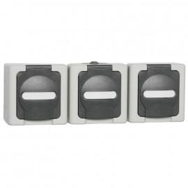 Steckdose, Aufputz, Feuchtraum, 3 Fach, waagrecht, grau - hellgrau, IP44, Kopp