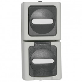 Kombi Schalter - Wechsel / Steckdose, Aufputz, Feuchtraum, senkrecht, grau - hellgrau, IP44